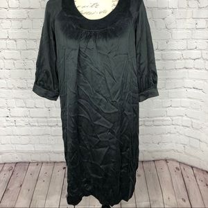 Vince Black Silk 3/4 Bishop Sleeve Shift Dress